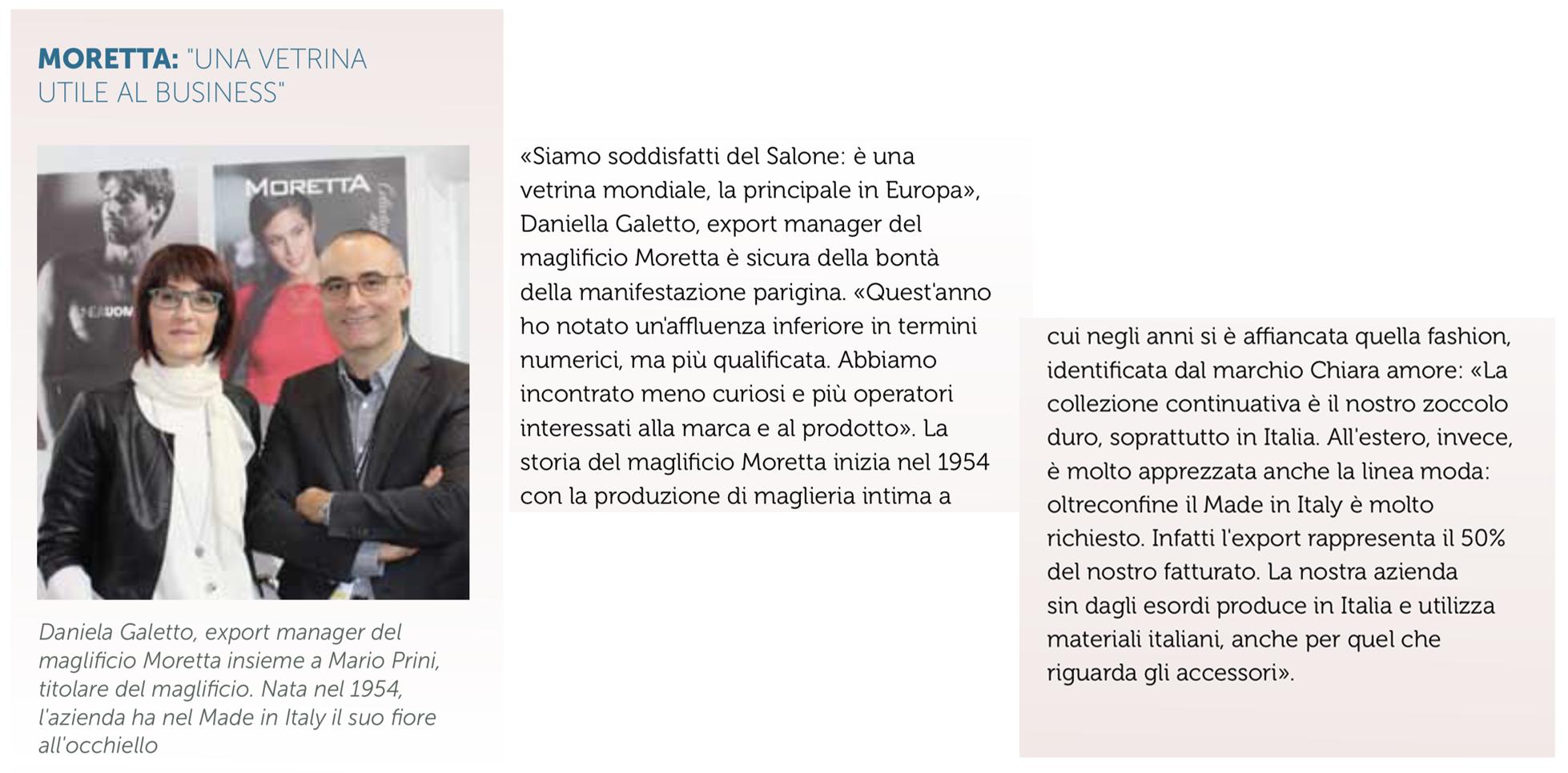 """Moretta su """"Intimo Retail"""" di febbraio 2018"""