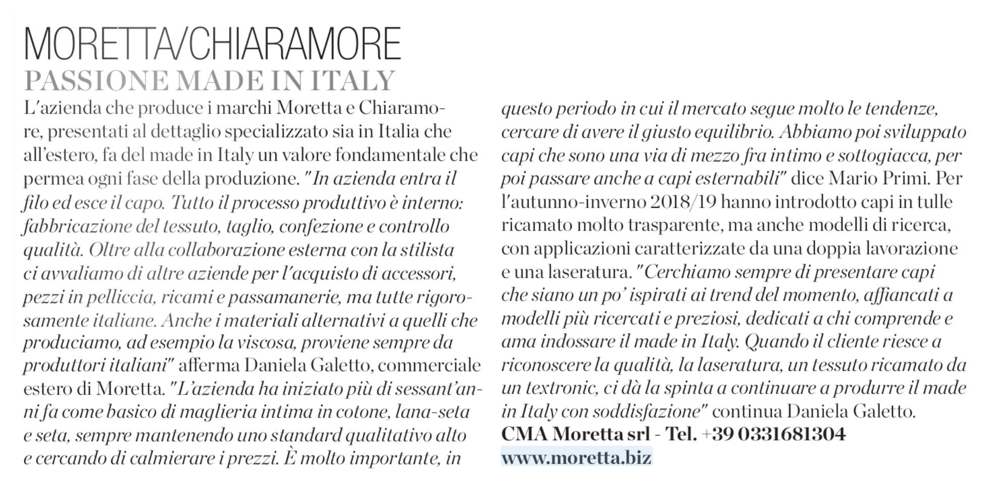 """Moretta e ChiarAmore su """"Intimo più mare"""" di Marzo 2018"""